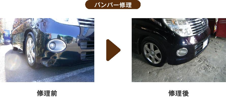 栃木県宇都宮市Carfe(カーフェ)自動車の修理・傷・へこみを格安で | バンパー修理の修理前と後の画像